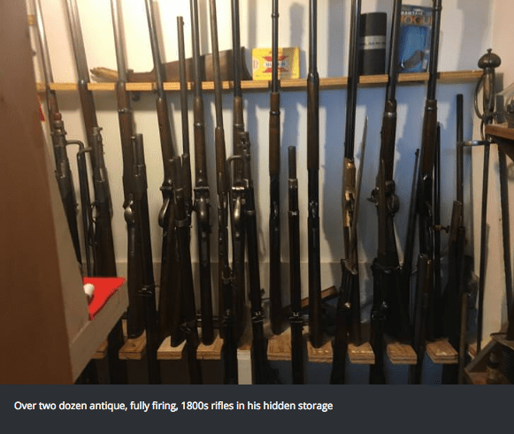Product - Over two dozen antique, fully firing, 1800s rifles in his hidden storage