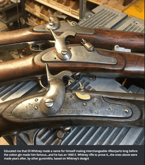 Antique tool - ESTHTENEY Educated me that Eli Whitney made a name for himself making interchangeable rifles/parts long before the cotton gin made him famous...and he has an 1840 E. Whitney rifle to prove i...the ones above were made years after, by other gunsmiths, based on Whitney's design! NEW RA N 1840