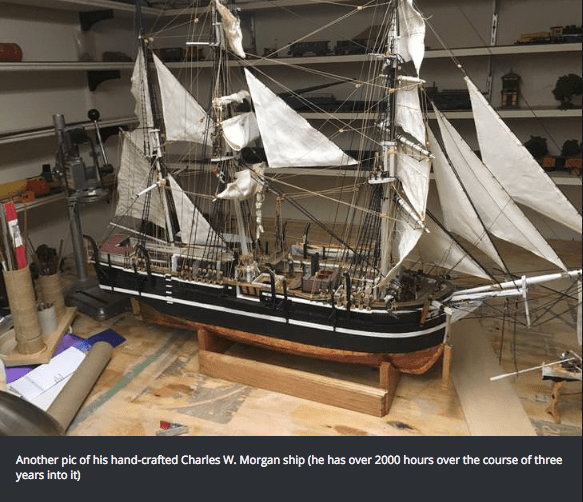 Maritime museum - Another pic of his hand-crafted Charles W. Morgan ship (he has over 2000 hours over the course of three years into it)
