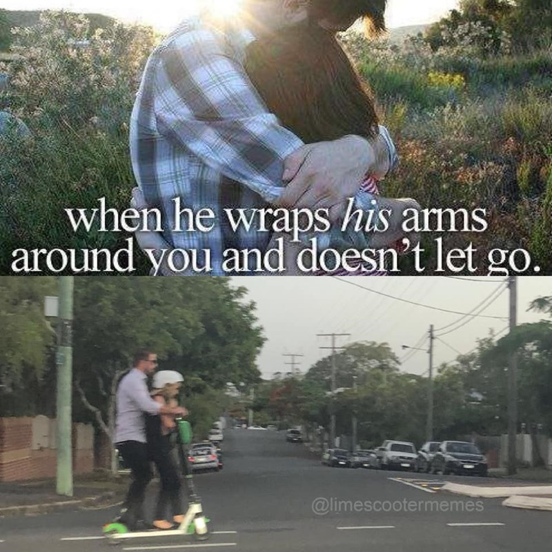 just girly things meme about a guy giving you a ride on his scooter