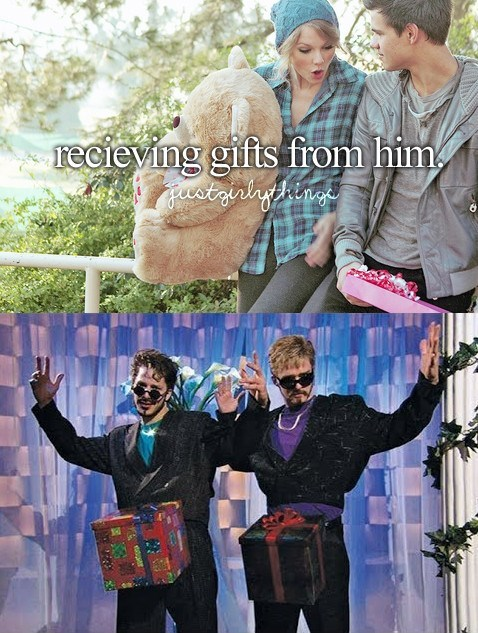 """just girly things meme about getting gifts with pic from the """"Dick in a Box"""" music video"""