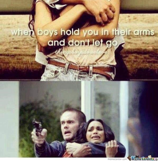 just girly things meme about being held with pic of man holding woman hostage at gunpoint