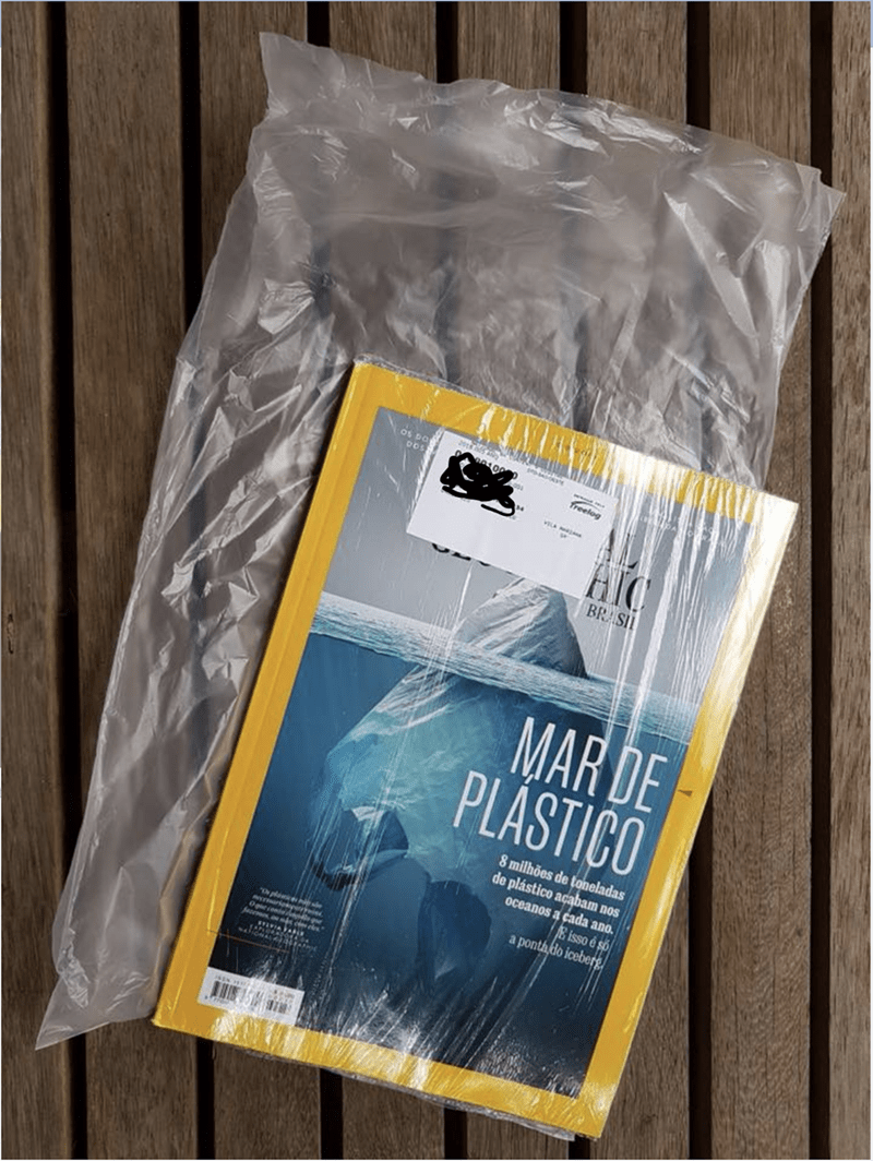 crappy design of National Geographic cover about plastic waste being sold wrapped in plastic