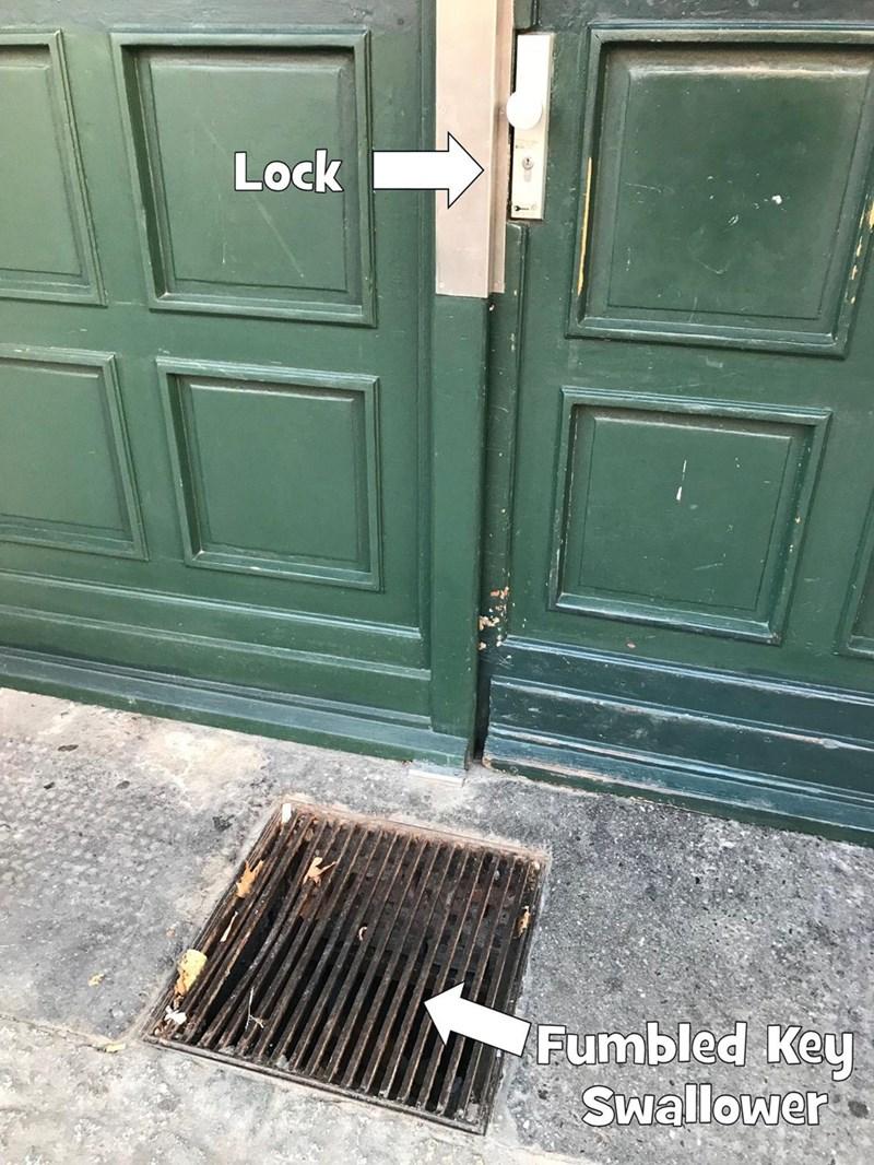 crappy design of sewage grate right below door