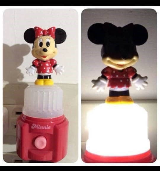 crappy design of Minnie Mouse lamp that looks demonic when turned on