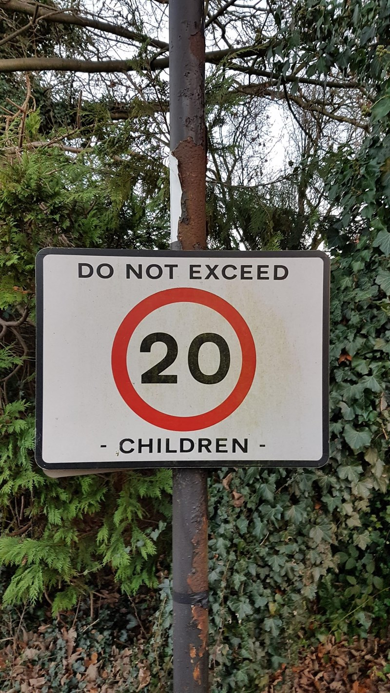 crappy design of speed limit sign advising against getting no more than 20 kids