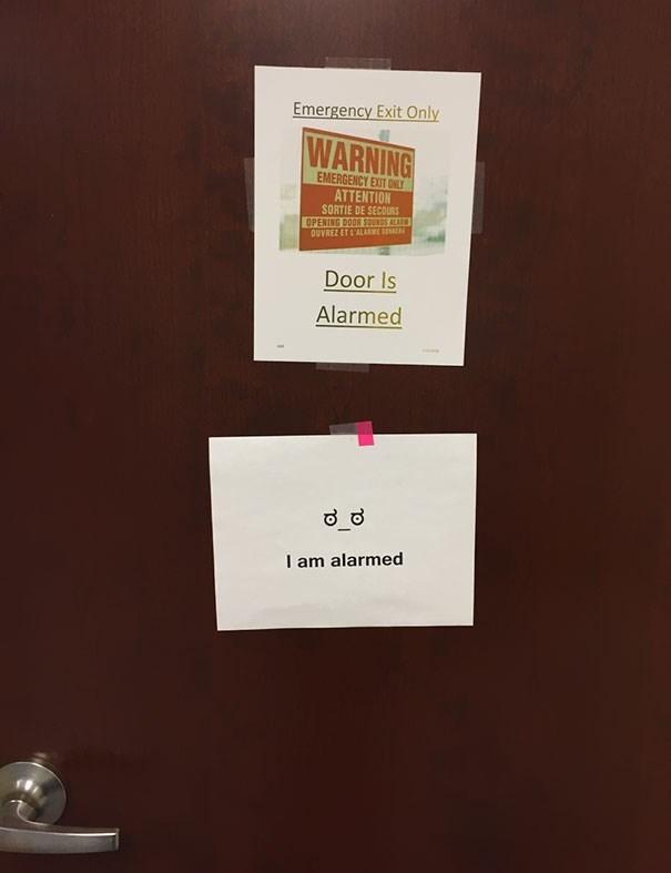 Text - Emergency Exit Only WARNING EMERGENCY EXIT ONLY ATTENTION SORTIE DE SECOURS OPENING DOOR SOURDS ALARM OUVREZ ET L'ALARME SE Door Is Alarmed I am alarmed