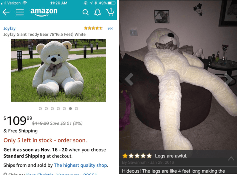 crappy design of giant teddy bear with hideously long legs