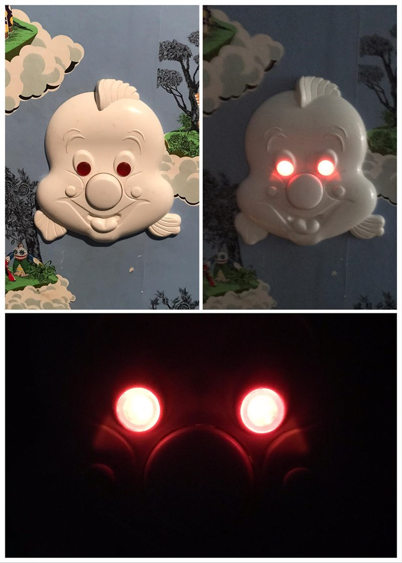 crappy design of night lamp with scary glowing eyes