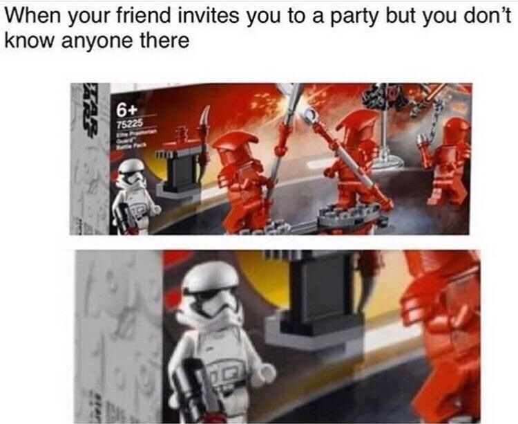 meme about being alone at a party with pic of Lego box with one stormtrooper on it among other soldiers