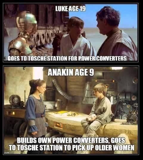 meme comparing Luke and Anakin Skywalker and what they accomplished in their youth