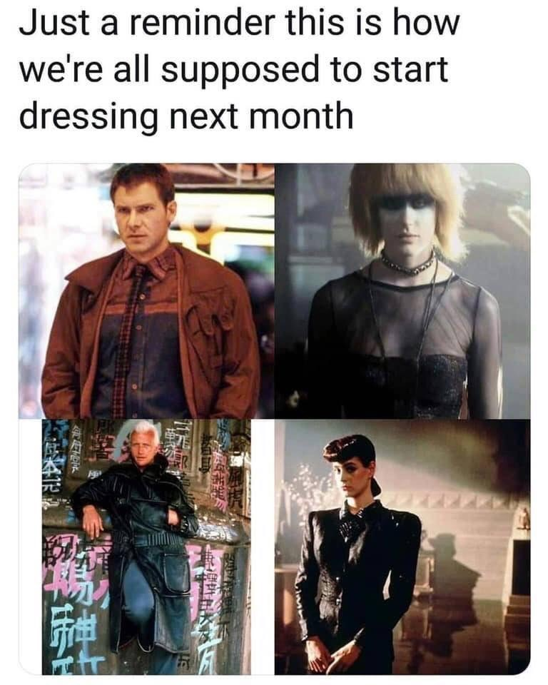 meme about what the current fashion should look according to the Blade Runner movie