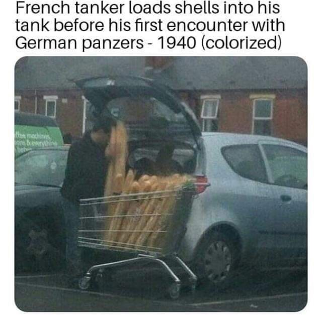 fake history meme with pic of person loading baguettes into car trunk