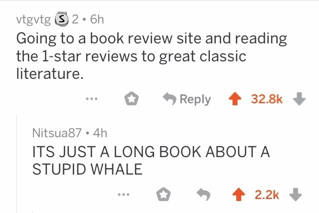 Reddit thread about a 1 star review of Moby Dick