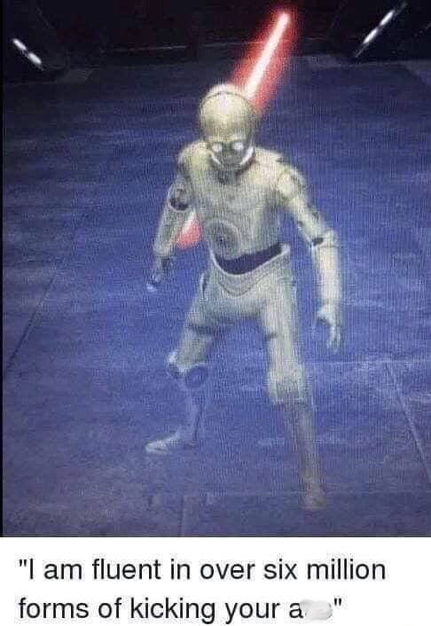 R2D2 as a badass robot with pic of him holding a lightsaber