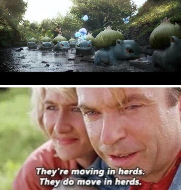 meme of Jurassic Park doctor reacting emotionally to bulbasaurs moving in herds