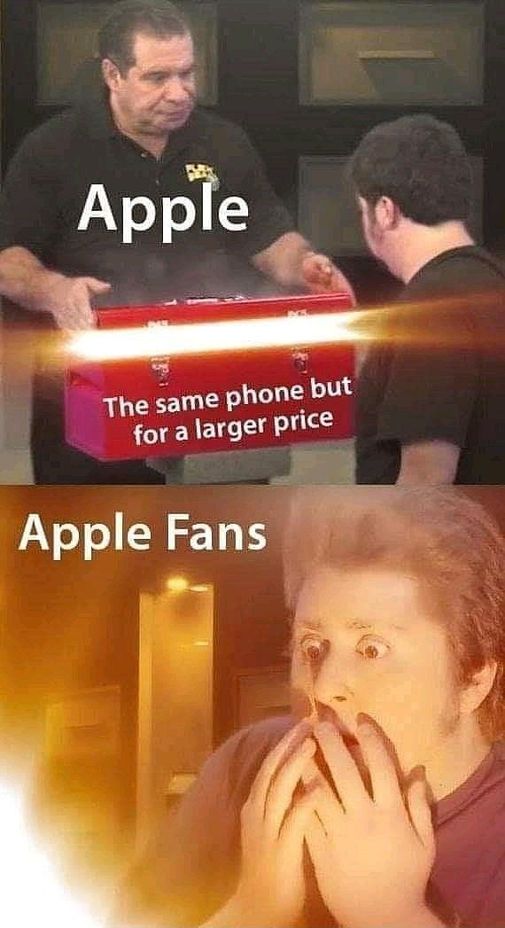 """Pic of a guy, who represents """"Apple,"""" holding out a box which represents """"The same phone but for a larger price"""" above a pic of a shocked guy, who represents """"Apple fans"""""""