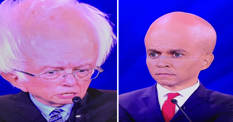 Funny images of democratic candidates with big brains, democratic debate, bernie sanders, cory booker.