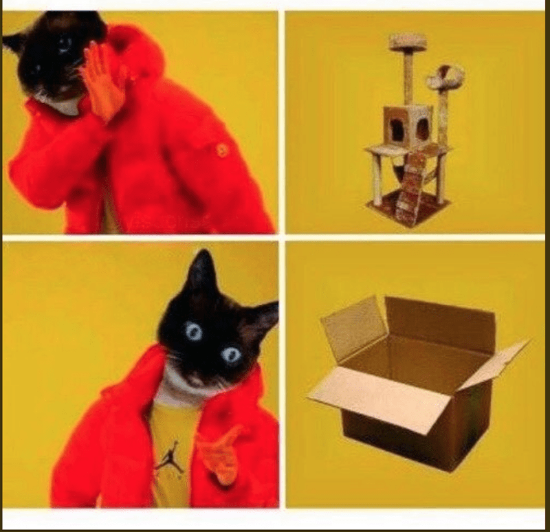 Drake hotline meme about cats preferring to play with boxes instead of expensive toys
