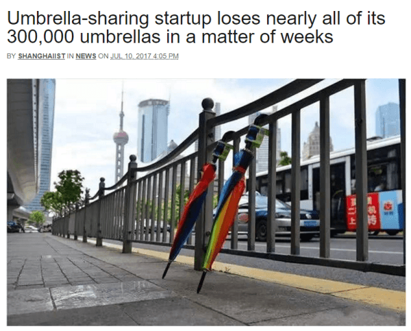 Product - Umbrella-sharing startup loses nearly all of its 300,000 umbrellas in a matter of weeks BY SHANGHAILST IN NEWS ON JU 10 2017.4.05. PM
