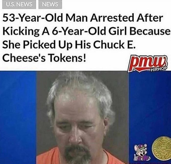 Hair - NEWS U.S. NEWS 53-Year-Old Man Arrested After Kicking A 6-Year-Old Girl Because She Picked Up His Chuck E. Cheese's Tokens! HIPHOP CIRIC