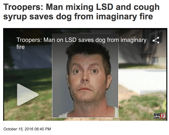 Face - Troopers: Man mixing LSD and cough syrup saves dog from imaginary fire Troopers: Man on LSD saves dog from imaginary fire IMEWS 13 CHANNEL October 15, 2016 06:40 PM