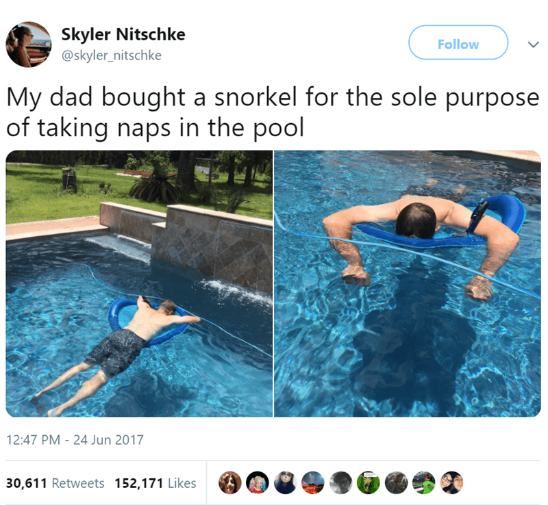 Swimming pool - Skyler Nitschke Follow @skyler_nitschke My dad bought a snorkel for the sole purpose of taking naps in the pool 12:47 PM - 24 Jun 2017 30,611 Retweets 152,171 Likes