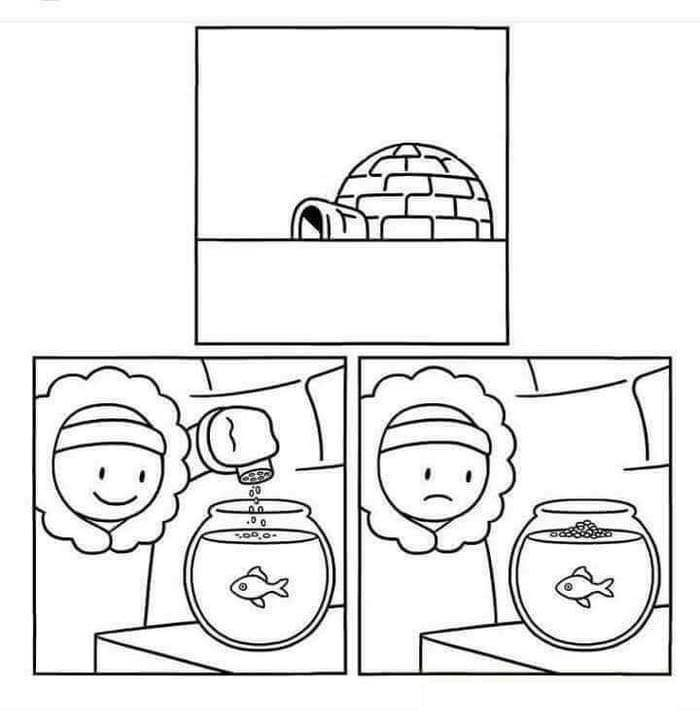 comic of person living in igloo finding out their goldfish froze over