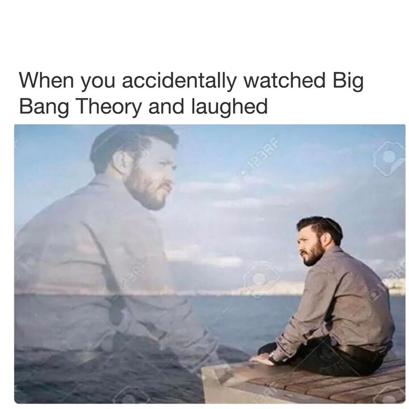 "meme about enjoying ""Big Bang Theory"" despite hating it with pic of man sitting forlorn on a pier"