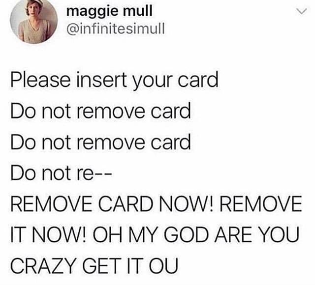 Funny meme about using chip card, tweet, twitter.