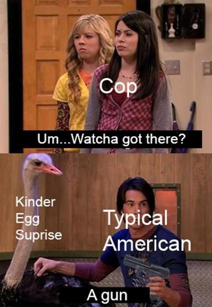 iCarly meme with Spencer as an American hiding a kinder surprise with a gun