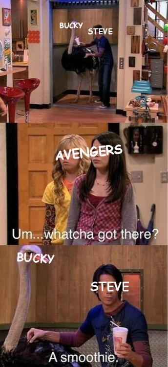 iCarly meme with Spencer as Captain America hiding the Winter Soldier