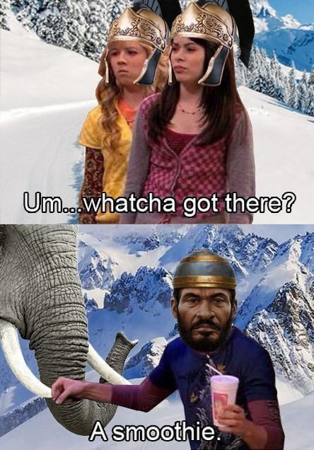 iCarly meme with Spencer as Hannibal hiding elephant cavalry from the Romes