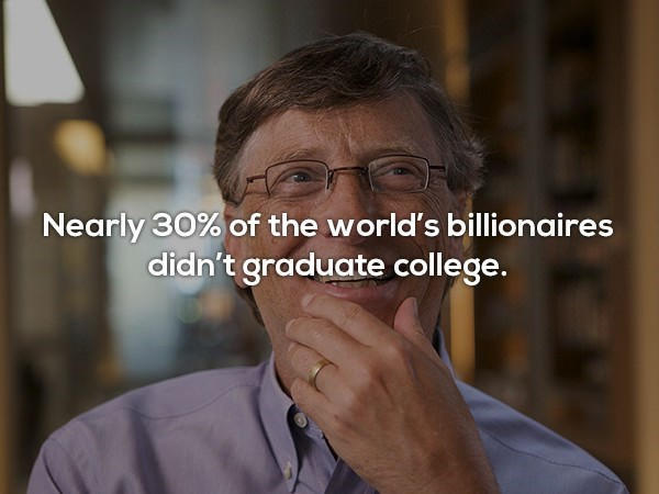 Glasses - Nearly 30% of the world's billionaires didn't graduate college.