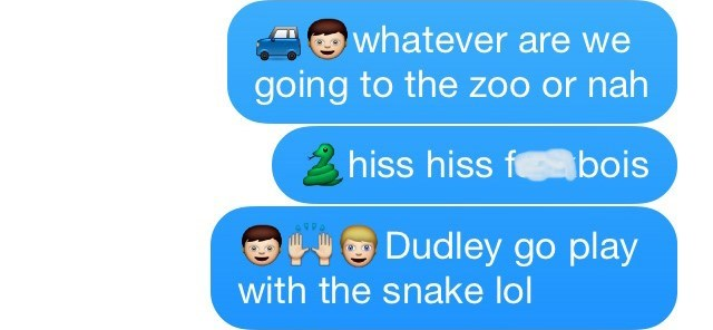 Text - whatever are we going to the zoo or nah hiss hiss f bois Dudley go play with the snake lol