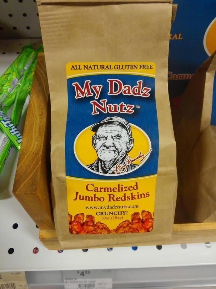 Snack - RAL ALL NATURAL GLUTEN FREE Carm My Dads Nutz Carmelized Jumbo Redskins www.mydadznutz.com CRUNCHY 10oz (284g) 4 84