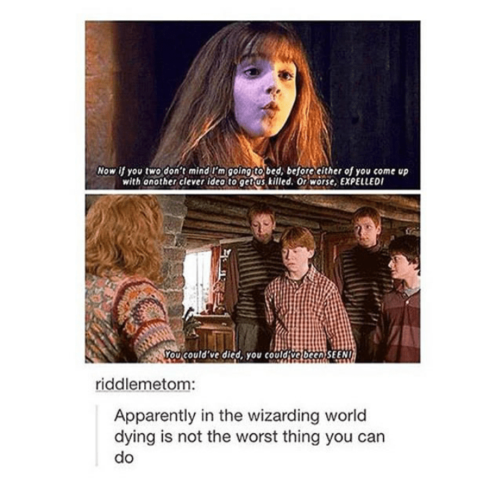 Text - Now if you two don't mind I'm going tobed, before cither of you come up with onother clever ideo to get as killed. Or worse, EXPELLED You could've died, you couldive been SEEN riddlemetom: Apparently in the wizarding world dying is not the worst thing you can do