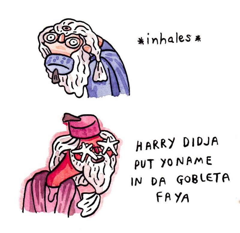 drawing of Harry Potter scene of Dumbledore yelling