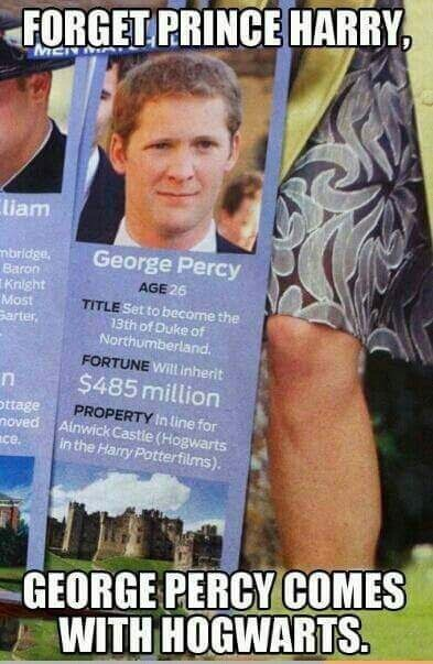 Harry Potter meme about a British royal that owns the real life Hogwarts