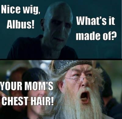 """""""Your mom's chest hair"""" scene from Mean Girls with Voldemort and Dumbledore"""