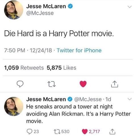tweets explaining why the Die Hard movie belongs in the Harry Potter franchise