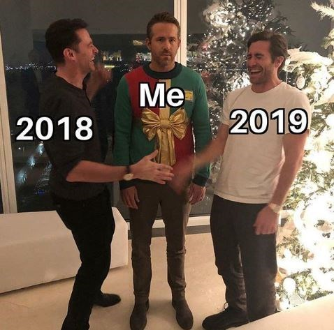 Ryan Reynolds sweater prank meme with Hugh Jackman and Jake Gyllenhaal as 2018 and 2019