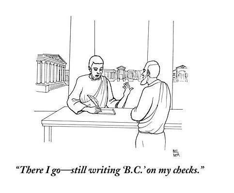 meme about writing the wrong year on a check with drawing of man in Ancient Rome