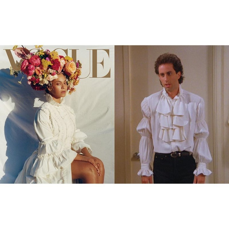 Seinfeld meme comparing Jerry in the puffy shirt to Beyonce's Vogue photoshoot