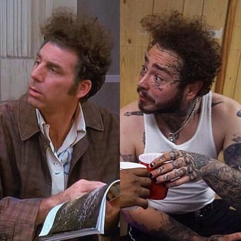 Seinfeld meme comparing Kramer to Post Malone