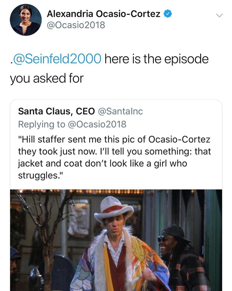 Seinfeld meme with tweet from Ocasio Cortez about Kramer's pimp suit
