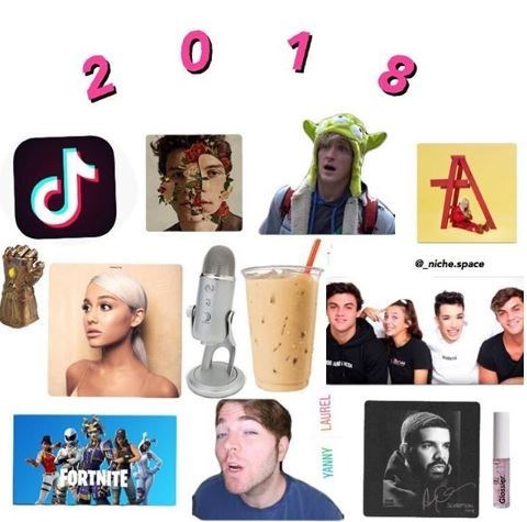the year 2018 in one pic with Fortnite, Ariana Grande, Logan Paul, an ASMR microphone