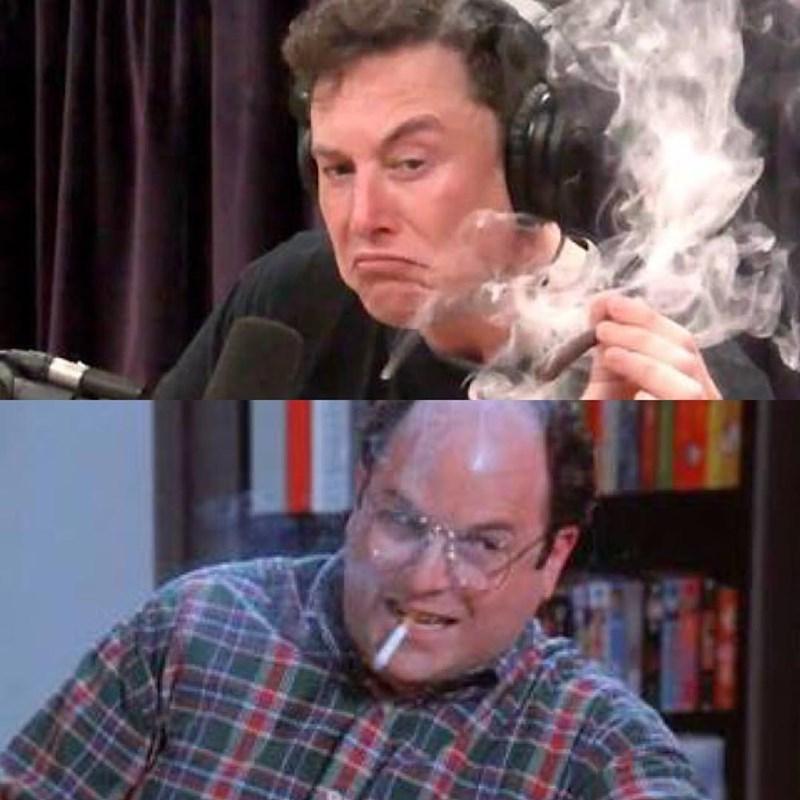 Seinfeld meme comparing George smoking and Elon Musk smoking joint
