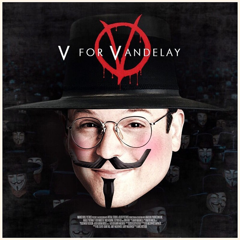 """Seinfeld meme about Art Vandelay with George photoshopped into the """"V for Vendetta"""" movie poster"""