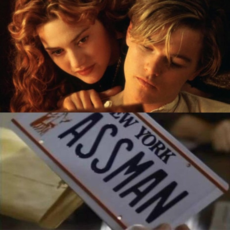 """Seinfeld meme about the """"assman"""" car plate with Jack and Rose from Titanic"""